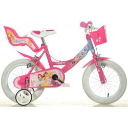 """DINO Bikes - Dětské kolo 16"""" Princess se sedačkou pro panenku a košíkem"""